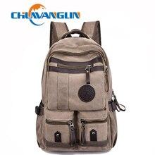 Chuwanglin 패션 배낭 남자 노트북 배낭 캔버스 남성 배낭 대용량 학교 가방 빈티지 여행 가방 A7610