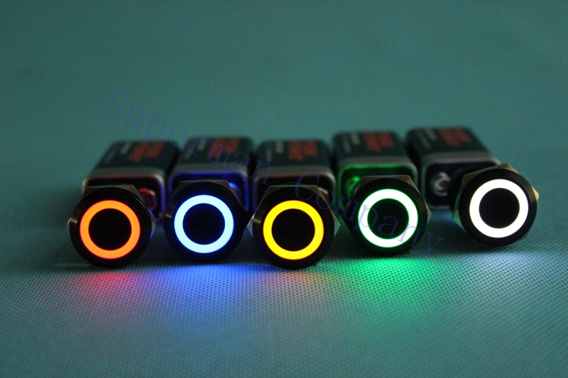 19mm push button black body bule yellow whilte green orange red  ring light fixation button switch waterproof 19HX/L,S.K-BK