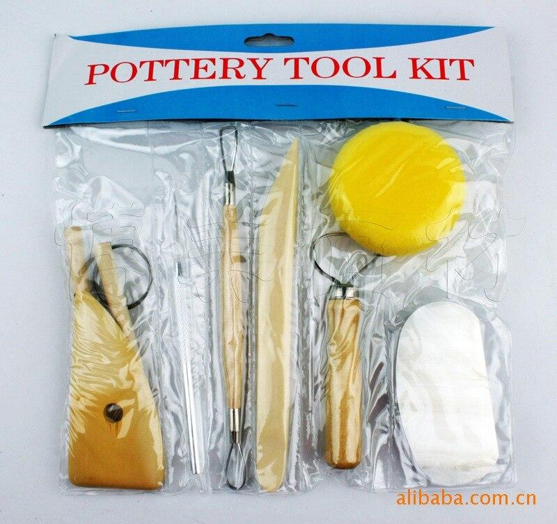 8pcs/set Pottery Tools DIY A Set Of Tools Sponge Of Modeling Clay Wood Wax Handle Clay Sculpture Carving Craft ACT028 NS-14