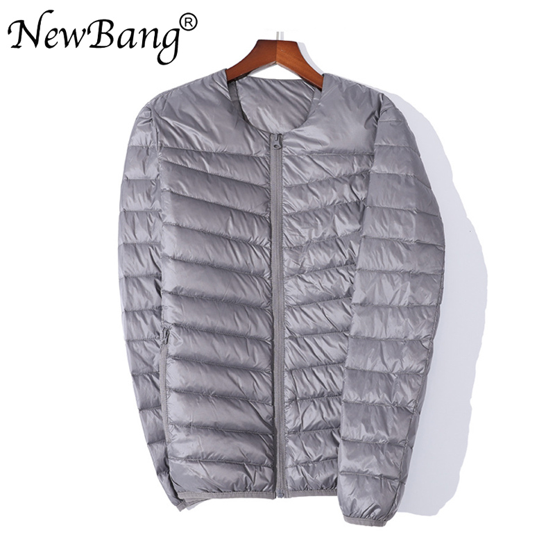 NewBang Ultra Light Down Jacket Men Zipper Single Breasted Portable O-Neck Spring Autumn Winter Without Collar Warm Liner