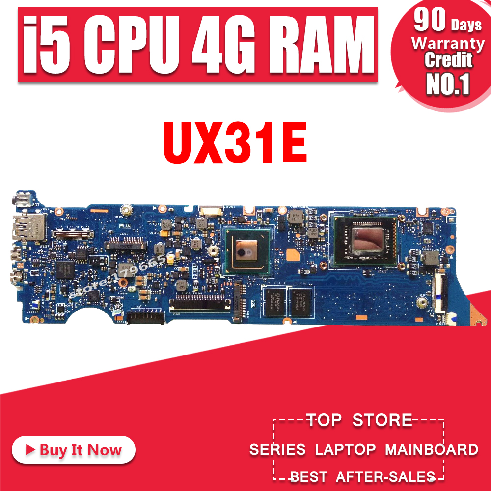 UX31E REV3.2/3.1 i5 CPU 4GB RAM motherboard For ASUS ZenBook UX31E UX31 Mainboard Processor Memory on board 100% tested