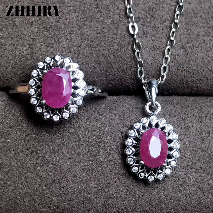 ZHHIRY Women Jewelry Sets Natural Ruby Gem Stone Genuine 925 Sterling Silver Ring Pendant Chain Fine Jewelry