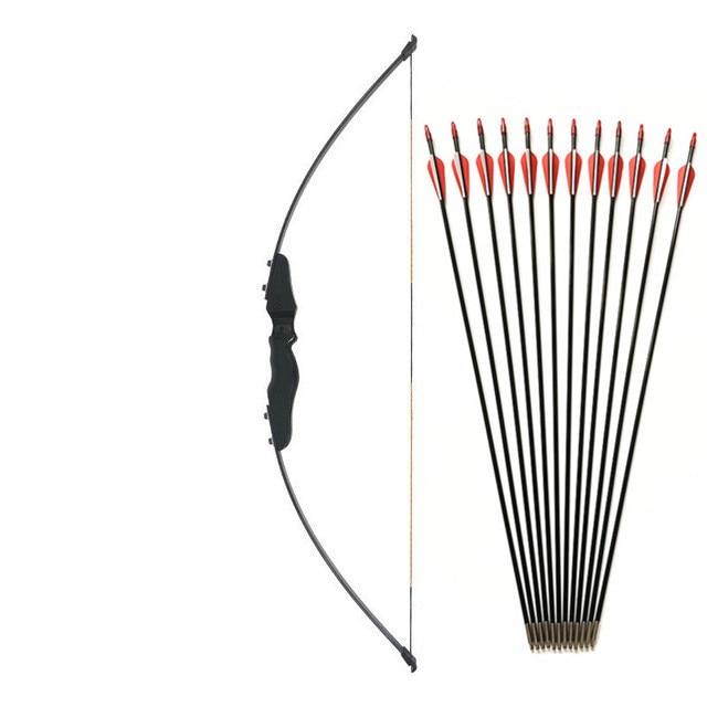 Freccette-Nero Dritto di Prua Arco Ricurvo 30-40lbs di Legno Tiro Con L'arco Arco All'aperto Caccia Tiro Arco Sport Arrow Longbow