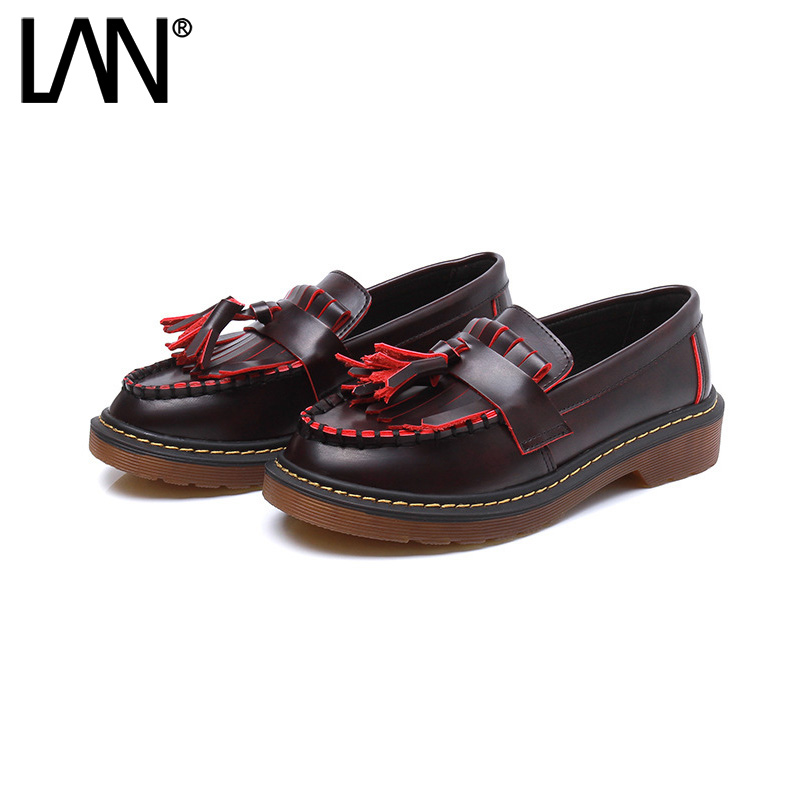 New Arrival Women's Oxfords Shoes Round Toe Casual Tassel Leather Women Platform Creepers Shallow Slip on Plus Size 35-42 nayiduyun women genuine leather wedge high heel pumps platform creepers round toe slip on casual shoes boots wedge sneakers