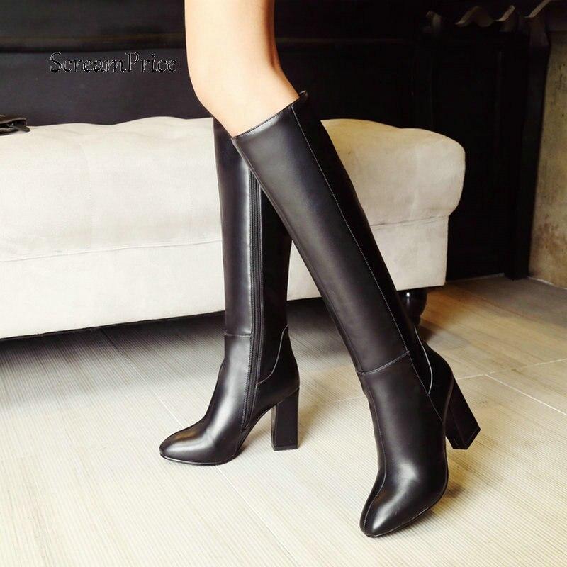 Bottes hautes au genou femmes fermeture éclair confortable bout carré chaussures d'hiver femmes chaudes en peluche bottes à talons hauts rouge noir marron 2019 bottes