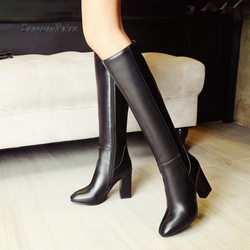 Knee Excessive Boots Girls Zipper Snug Sq. Toe Winter Sneakers Girls Heat Plush Excessive Heel Boots Pink Black Brown 2019 Boots winter footwear, knee excessive boots, excessive boots,Low-cost winter...