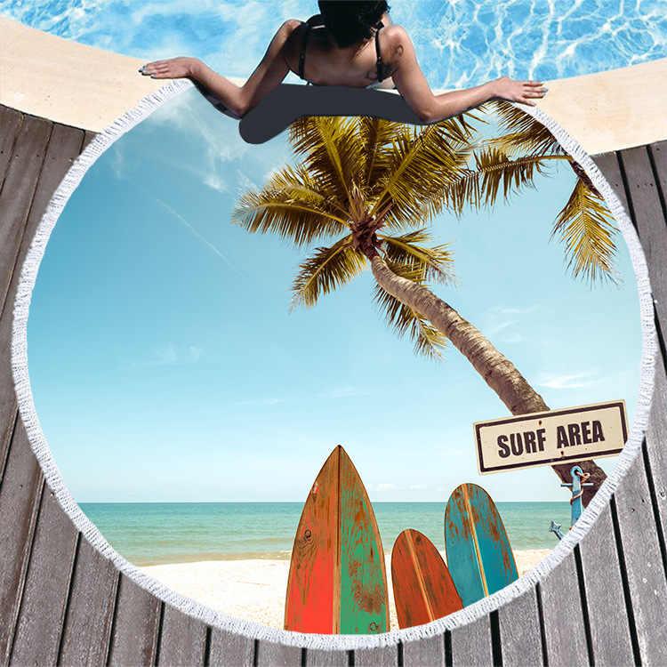 夢 NS ラウンド印刷ビーチタオルマイクロファイバープラスタッセルソフトソフトカスタマイズ可能なロゴビーチ 3D 効果キャンプブランケット
