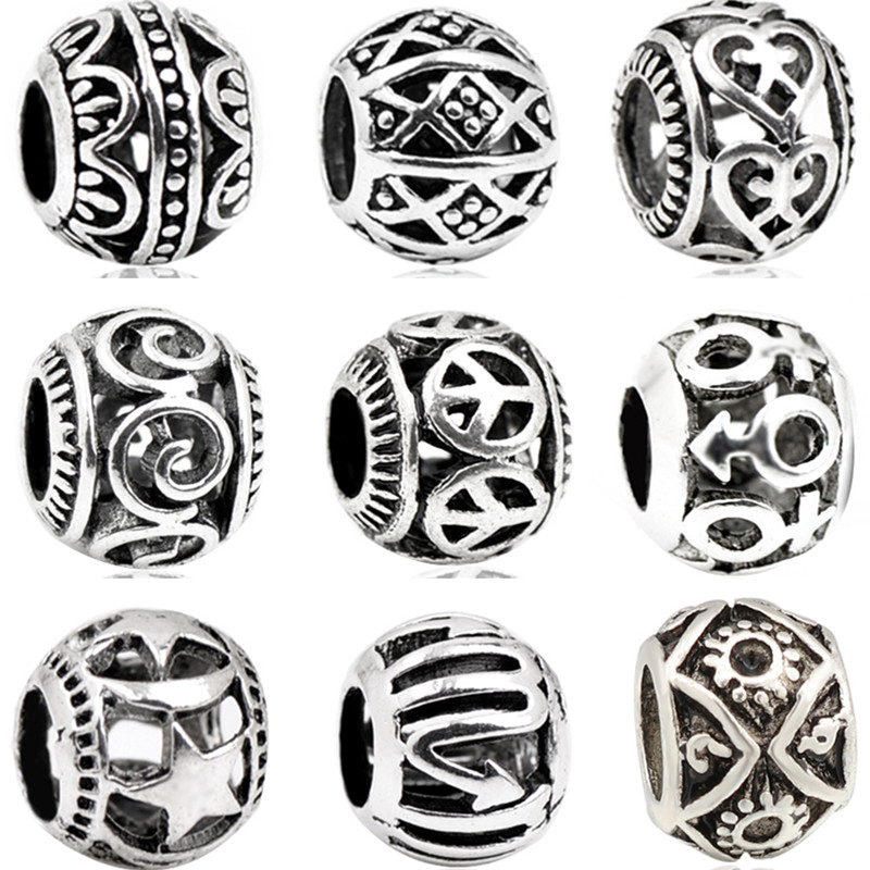 Alloy Beads Bracelets Charms Flowers Tibet Fit Pandora Silver-Color Perles Hearts Round