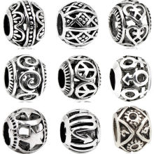 Punk Tibet Silver Color Hollow Round Peace Hearts Flowers Alloy Beads Fit Pandora Charms Bracelets for Women Vintage DIY Perles(China)