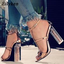 Eilyken Summer Sandals Crystal Leopard Open Toed High Heels Women Transparent Cover Heel Buckle Strap Sandals Pumps