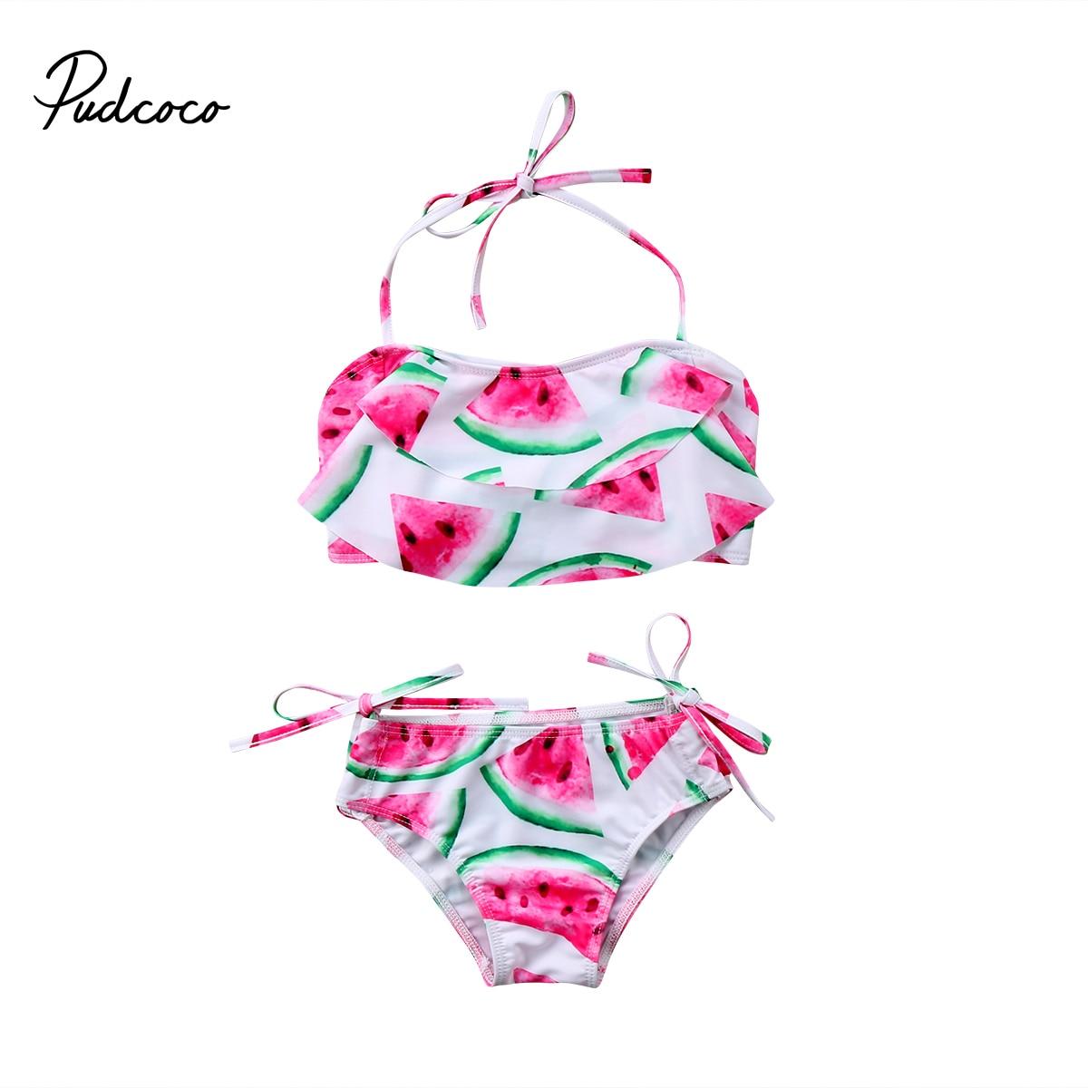 2PCS Baby Toddler Girls Swimwear Ruffle Bikini Set Swimsuits Kids Swimwear
