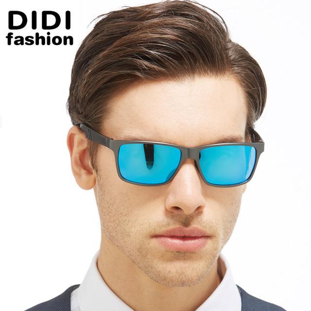 DIDI High-end Óculos Polarizados Óculos De Sol Dos Homens De Prata Militar Da Liga de Alumínio Quadro Óculos Quadrados Óculos de Condução Do Vintage Culos H530