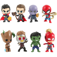 8 pcs/set Marvel Avengers 4 Infinity War Thanos Thor Spider-Man Iron Man Groot Hulk Action Figure Doll Ornament Model Doll Toys spider gwen spider girl figure spider man iron man civil war 16cm pvc action figures doll toys