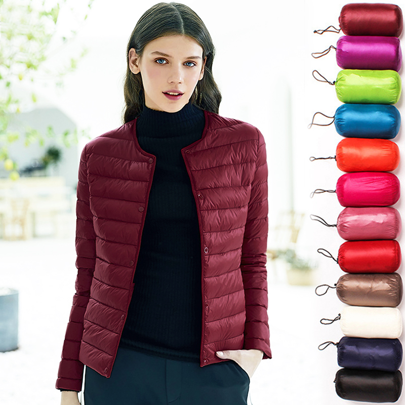 Women Ultra Light   Down   Jacket 100% White Duck   Down     coat   O-neck Lightweight Parkas Female Warm button Slim overcoat Plus Size