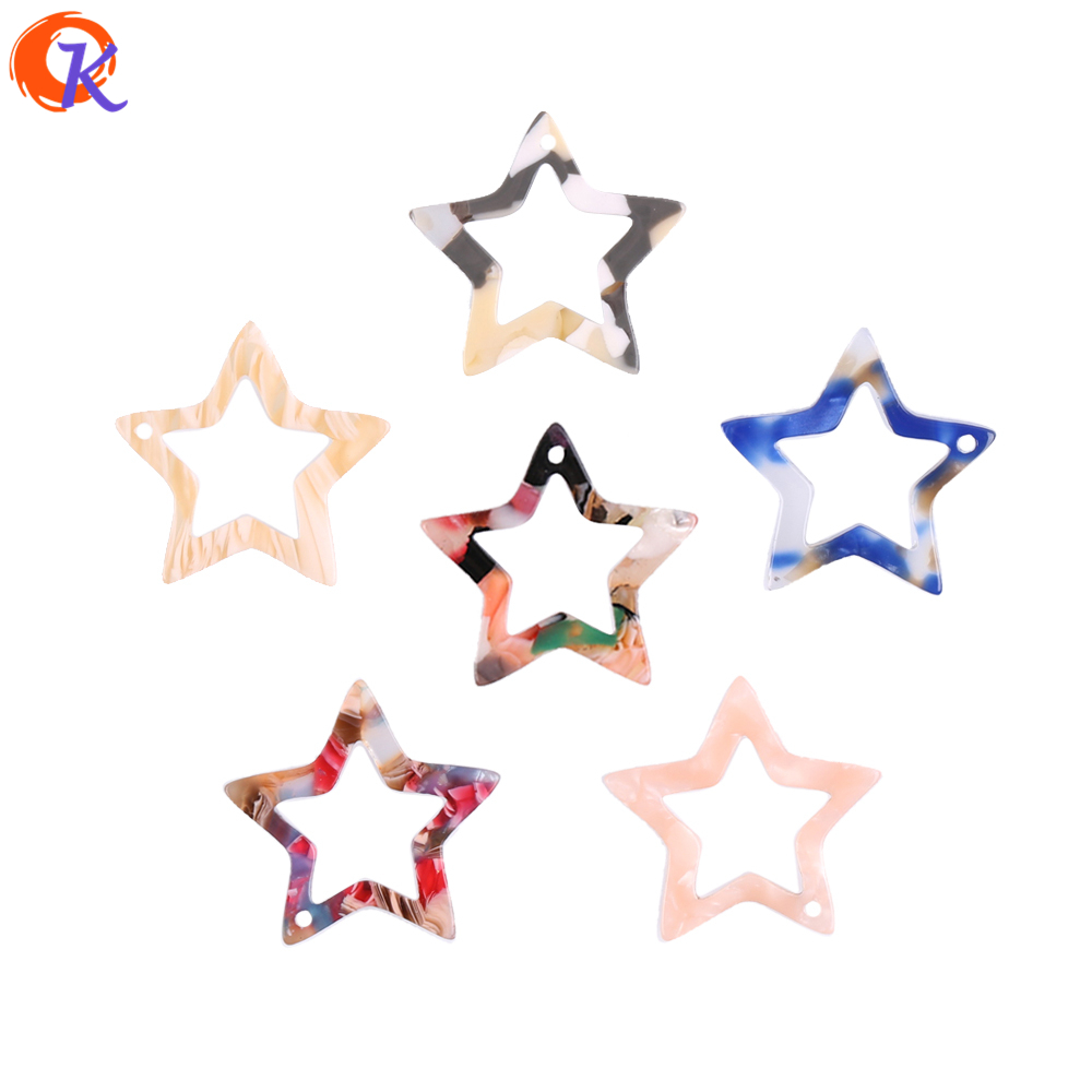 23*23MM Jewelry Accessories 30Pcs/Lot Mixed Colors Hollow Out Heart Pentagram Acetic Acid Resin Material For Jewelry Making