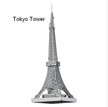 Tokyo Tower model 3D laser cutting puzzle DIY metalic building jigsaw free shipping birthday gifts educational
