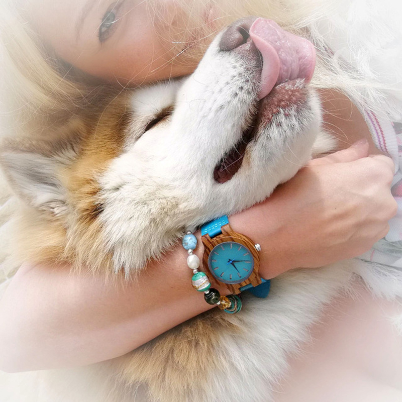 BOBO BIRD Women Watches Zebra Wooden Timepieces Turquoise Blue Men Watch Lovers Great Gifts Relogio Masculino Drop Shipping(China)