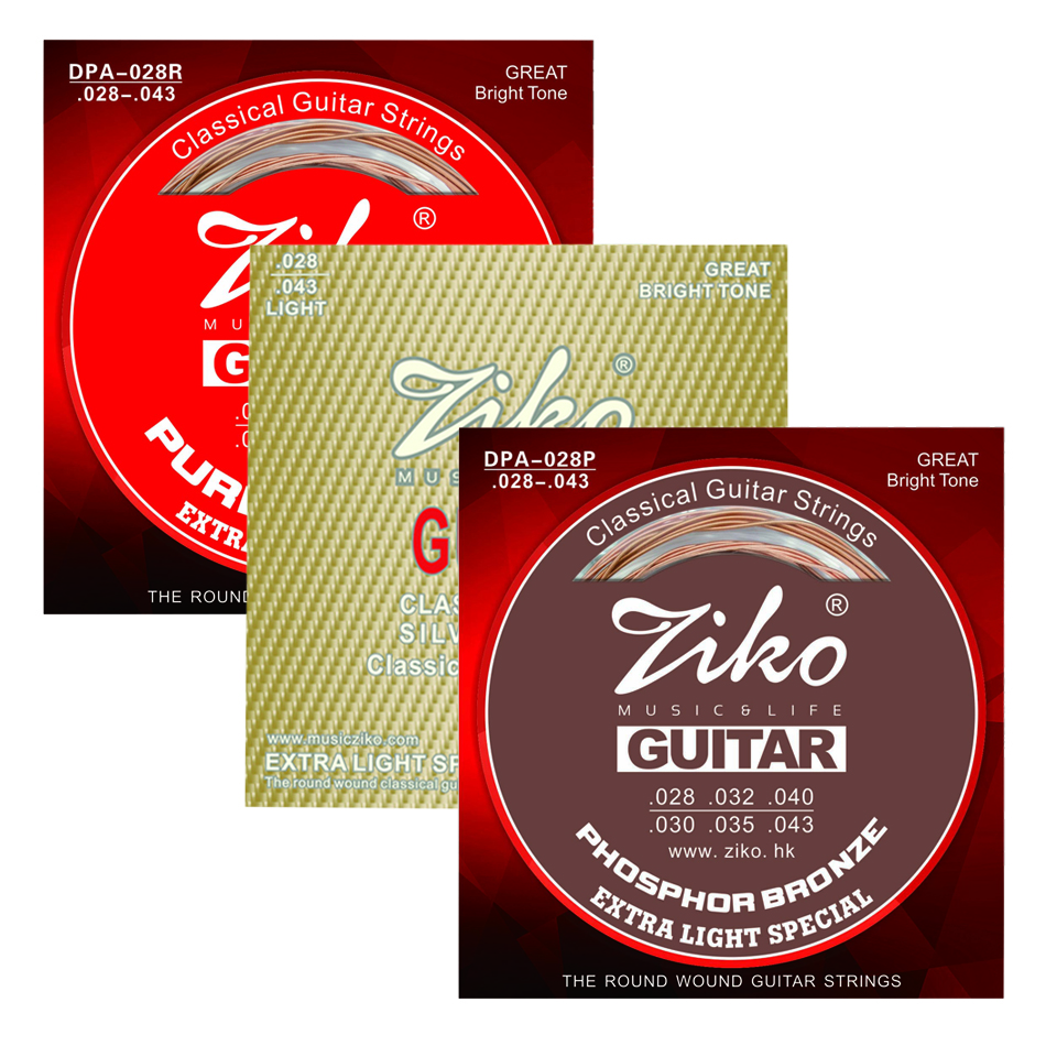 ZIKO DPA-028/028P/028R Classical Guitar Strings 028-043 Classical Guitar Strings Clear Nylon Silver,Phosphor Bronze,Pure Copper alice classical guitar strings titanium nylon silver plated 85 15 bronze wound 028 0285 inch ac139