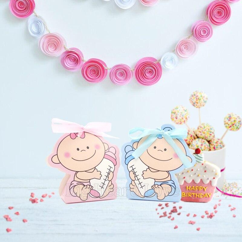 12 шт./компл. для маленьких девочек и мальчиков Бумага Подарочная коробка вечерние baby Shower конфетница, детская бутылочка для кормления День рождения украшения для детей