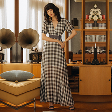 VERRAGEE women 2019 summer dress Long maxi vintage Dress Brand retro new female V-neck plaid Maxi