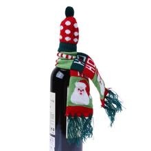Christmas Tree /Old Man /Animal Decoration for Home Wine Hold Bottle Cover Knitted Christmas Scarf and Hat Decor Xmas Ornament