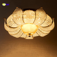 Фумат круглый романтический цветок K9 Кристалл Stainess Сталь светодиодный потолочный светильник Роскошные теплую атмосферу для Обеденная Кух