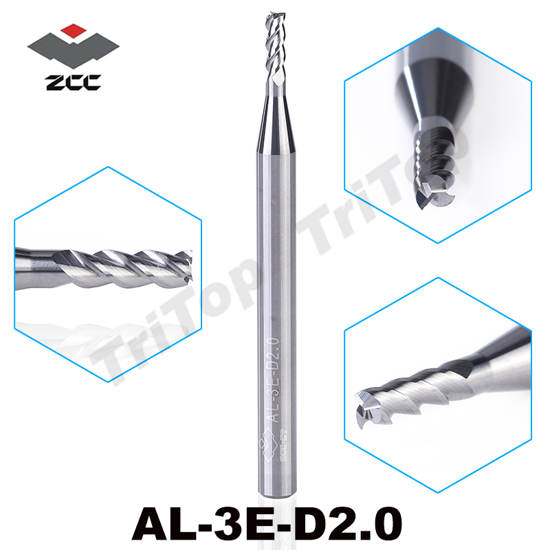 все цены на  5PCS/LOT high precision machining ZCC.CT AL-3E-D2.0 solid carbide 3 flute flattened end mill 2mm with straight shank  онлайн
