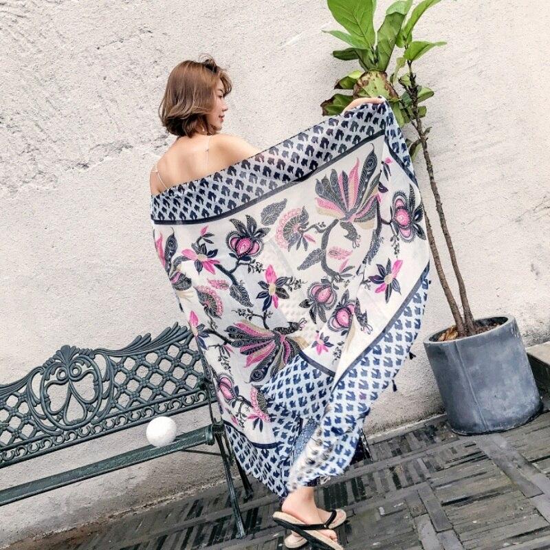 180 Brand Cotton Sscarf Luxury Pashmina Spring Women Scarves Shawls Wraps Lady Summer Beach Bandana Autumn Foulard Printed hijab