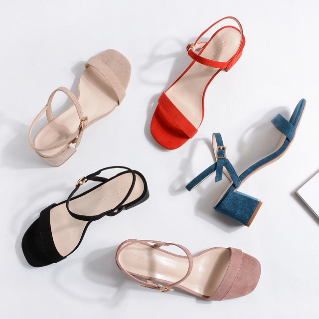 New 2019 Summer Sandals Shoes Woman Square High Heels Slippers Shoes Women Solid Ankle Strap Ladies High Heels Wedding Sandals