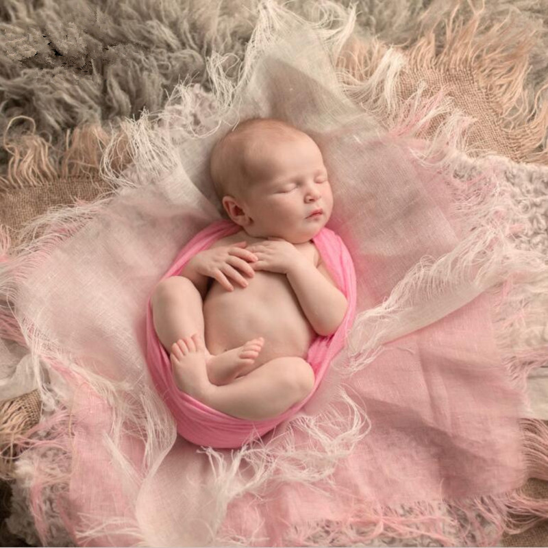 Newborn Photography Props Accessories Linen Tassel Baby Blankets Baby Photo Accessory Background Cloth Baby Studio Props Blanket