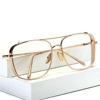 Square Oversized Vintage Clear Lens Glasses Frame Men Women Gold Frames Retro Myopia Glasses Female Eyeglasses