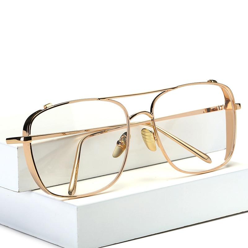 square oversized vintage clear lens prescription glasses gold frame men women myopia glasses female eyeglasses oculos