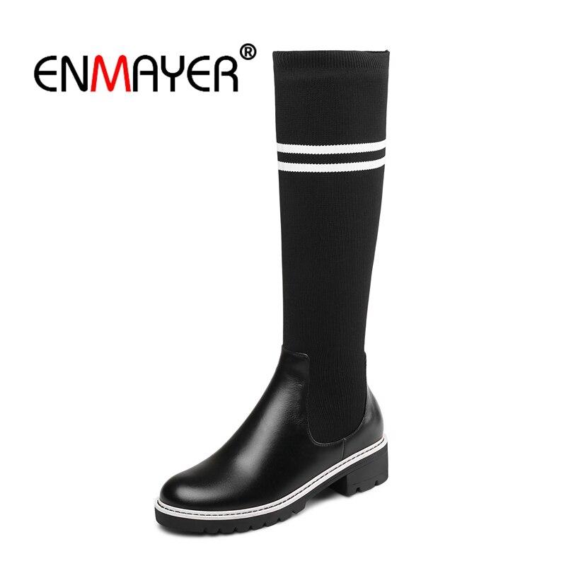 Enmayer Noir Black Hiver Causalité Bottes Rond Le Hautes Talons Stretch Glissement black2 Sur Cuissardes Bout Med Femme Cr1432 rRq6x1Fr