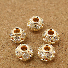 8*9mm 4pcs lot Round Pave Disco Ball Rose Gold Rhinestone Pearl Rhinestone Crystal Spacer Beads for DIY Jewelry Making Findings cheap Beadia Fashion Round Shape BJA039-16 approx 5g Metal Copper approx 8*9mm