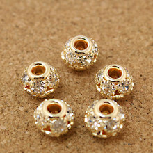 8*9mm 4pcs/lot Round Pave Disco Ball Rose Gold Rhinestone Pearl Rhinestone Crystal Spacer Beads for DIY Jewelry Making Findings(China)