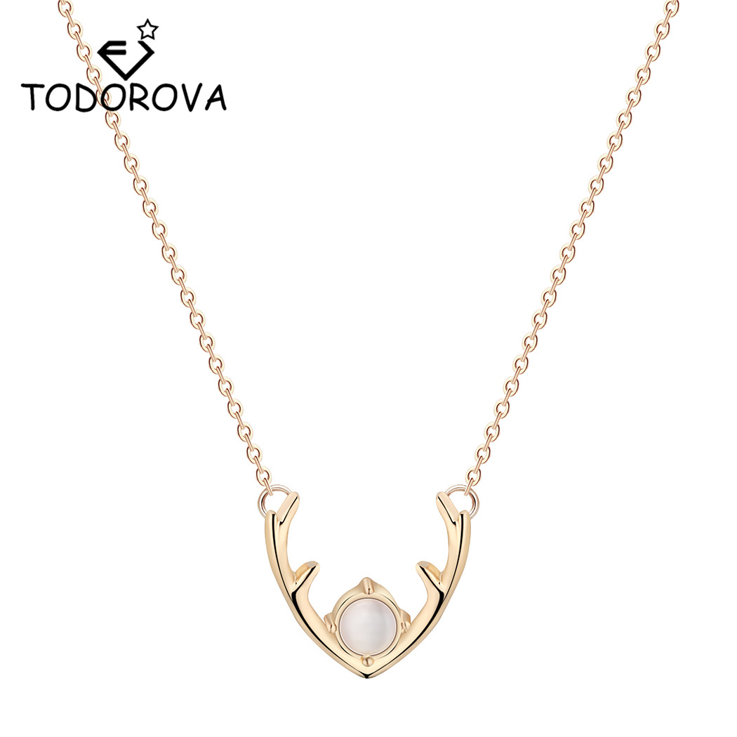 Todorova Elk Deer Stag Horn Jewelry Statement Necklace Crystal Opal Deer Antler Necklaces & Pendants for Women Christmas Gift