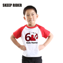 Red Boys Shirt Rib Neck Girl Party Shirts For Children High Quality Toddler Raglan Short Sleeves Girls Tops excavator
