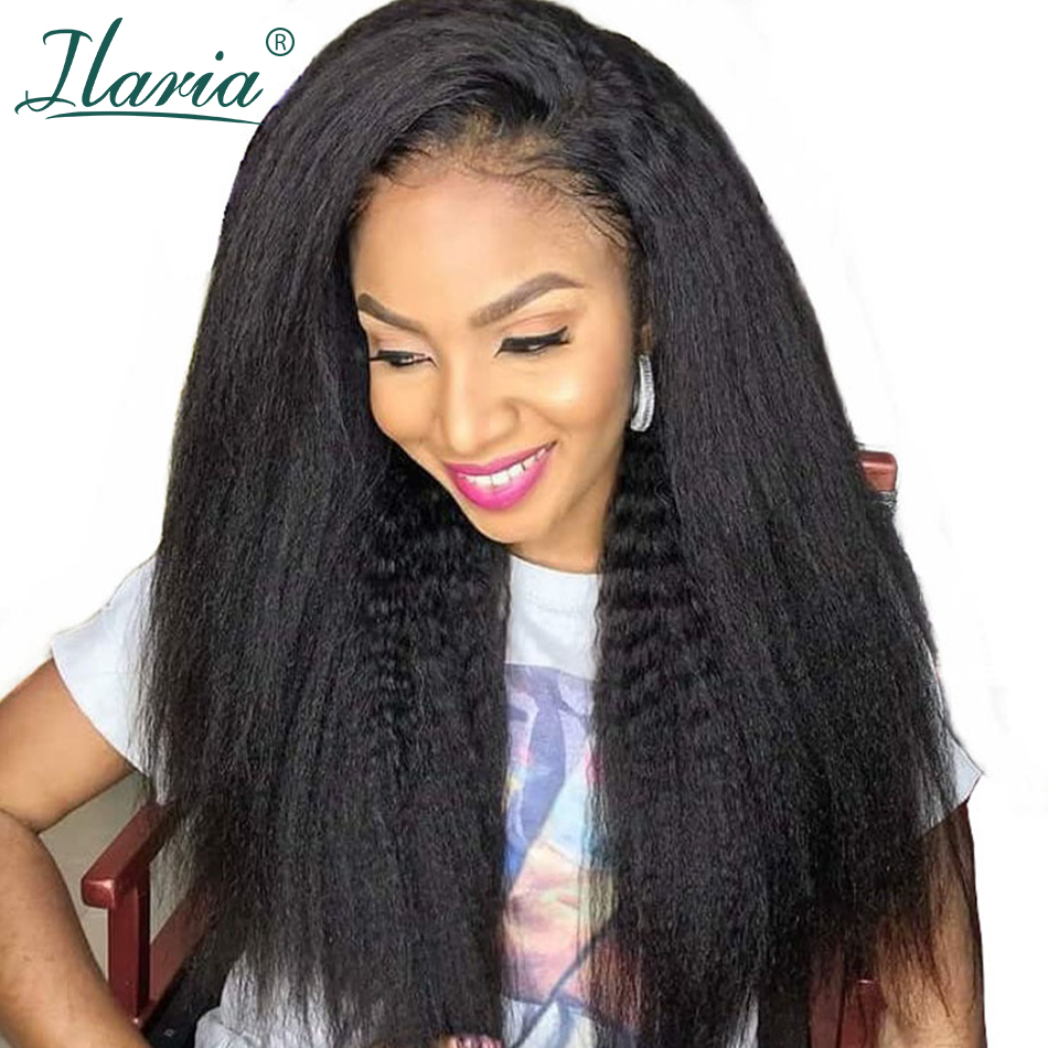 ILARIA Coarse Yaki Glueless Lace Front Human Hair Wigs For Black Women Kinky Straight Hair Full 360 Lace Frontal Wig Baby Hair