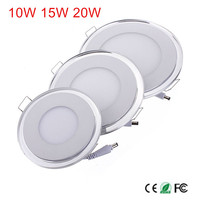 Free Shipping 10W 15W 20W LED Panel Light Ultra Slim LED Ceiling Downlight with driver AC85 265V Warm White/Cold White + Bule