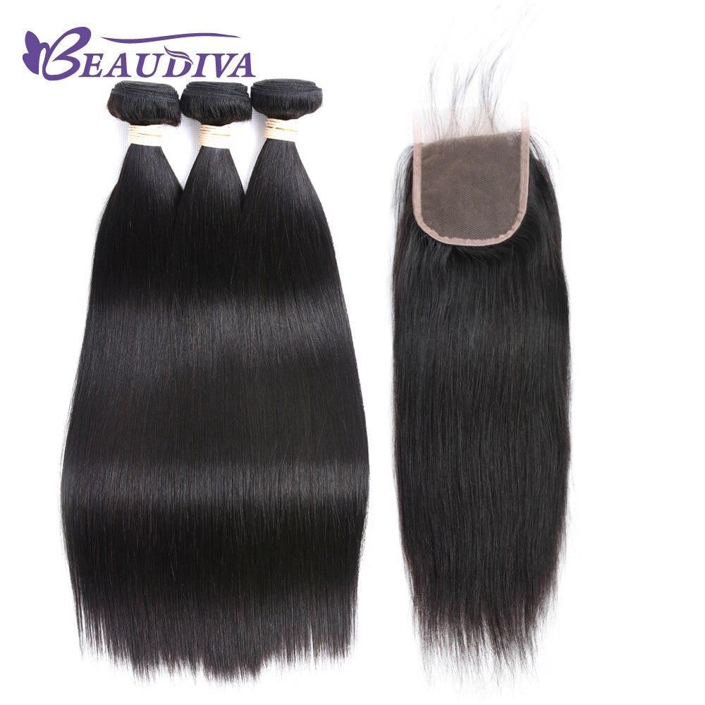 BEAU DIVA Hair Brazilian Straight Human Hair Bundles With Lace Closure Free Part 1# color 3 Bundles Hair Weaves Remy Hair