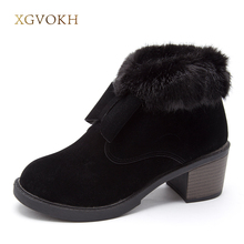 XGVOKH Women shoes Butterfly-knot winter ankle boots women shoes 2017 fashion heels winter zipper boots fashion shoes