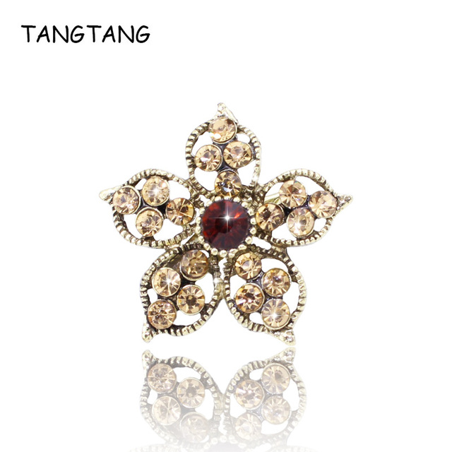 Top Quality Flower Style AAA Rhinestone Brooches For Women Bronze Plated Crystal Wedding Jewelry Accessories Bijoux Wholesale