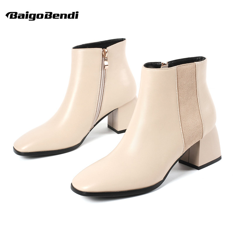 Plus Size 41 42 43 Woman Square Toe Ankle Boots Casual Hight Heel Zip Chelsea Boots Ladies Winter Thick Heel Boots US 4-11