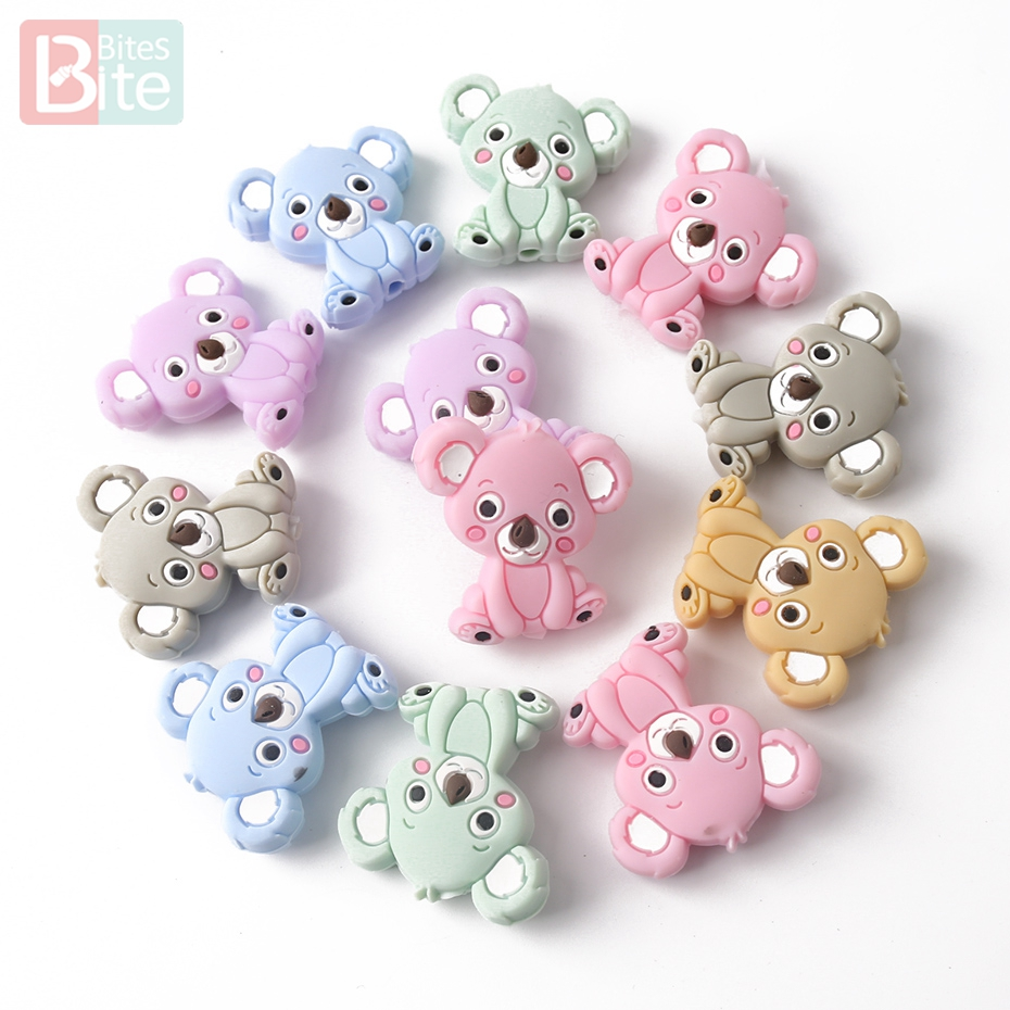 Bite Bites 3PC Koala Silicone Beads Cartoon Animal Mini Bear Diy Teething Toys Food Grade Silicone BPA Free Baby Teether