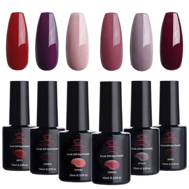 Makartt Red Gel Nail Polish Kit 10 ML 6 Bottles Perfect Goddess Temperament UV Gel