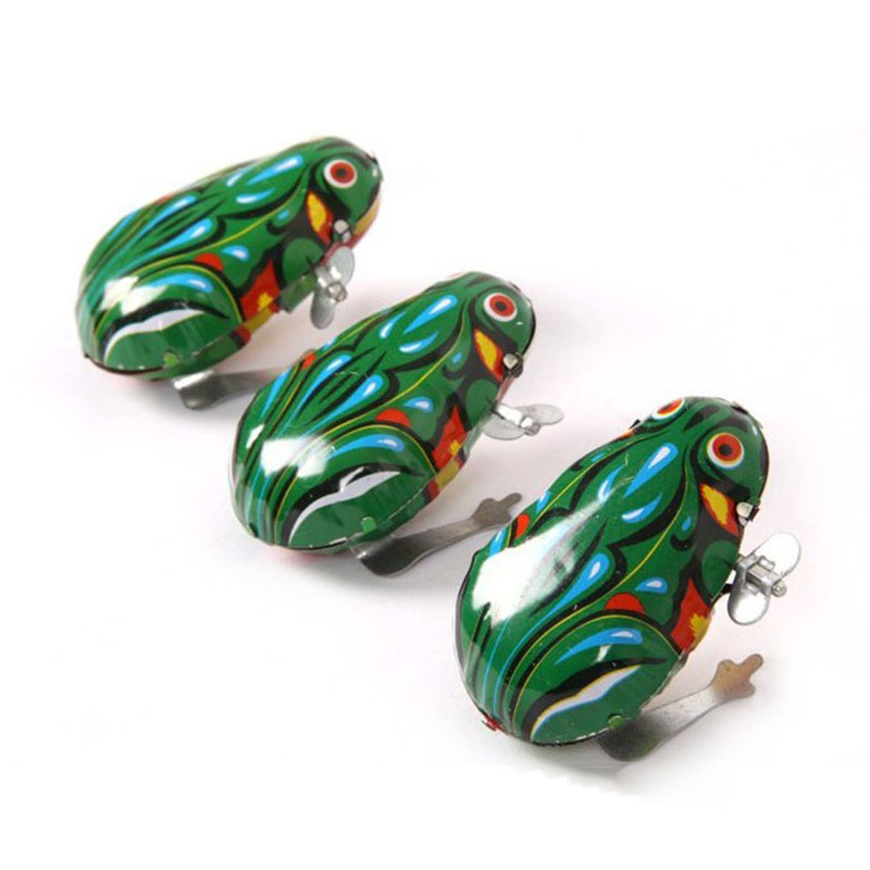 Kids Classic Tin Wind Up Clockwork Toys Jumping Frog Vintage Toy New Action Figures Toy For Children