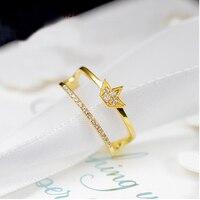 Чистый AU750 Желтый Золотая Корона cubin циркония кольцо США 7