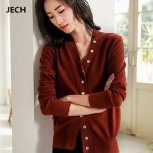 63e41ee415 JECH Puxar Femme Primavera V Pescoço Cardigans Blusas com Muitos Botões Das  Mulheres De Lã Curto Outono Casual Sólidos Cardigans.
