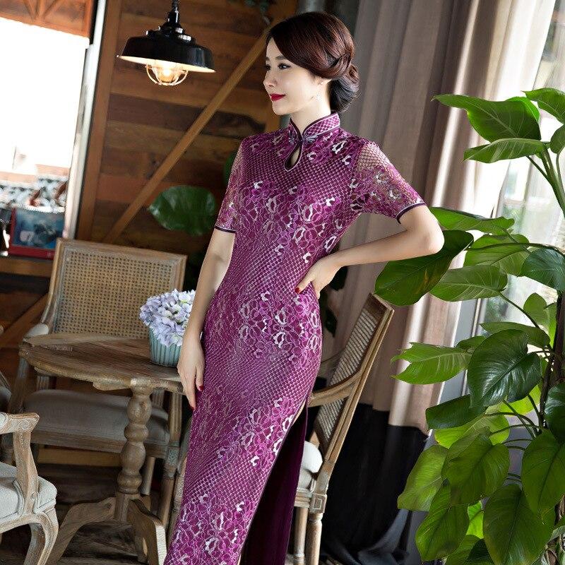 Longues Cheongsam Femmes Sexy Dentelle Qipao Chinois Traditionnel - Vêtements nationaux - Photo 2