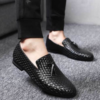 Men Shoes Genuine Leather Pigskin Loafers Casual Slip On Shoes Big Size 37 48 Solid Black